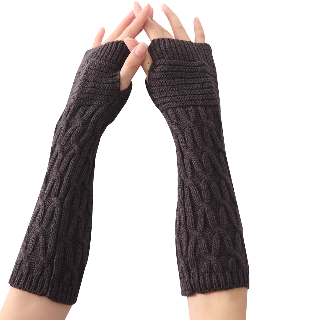 1 Pair Winter Autumn Fold Pattern Women Girls Knit Arm Warmer Gloves Stripe Arm Wrist Sleeve Mittens
