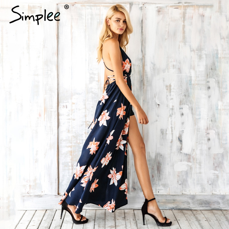 Simplee Boho deep v neck backless sexy dress Split cross lace up chiffon summer beach long dress Sleeveless maxi dress vestidos 3