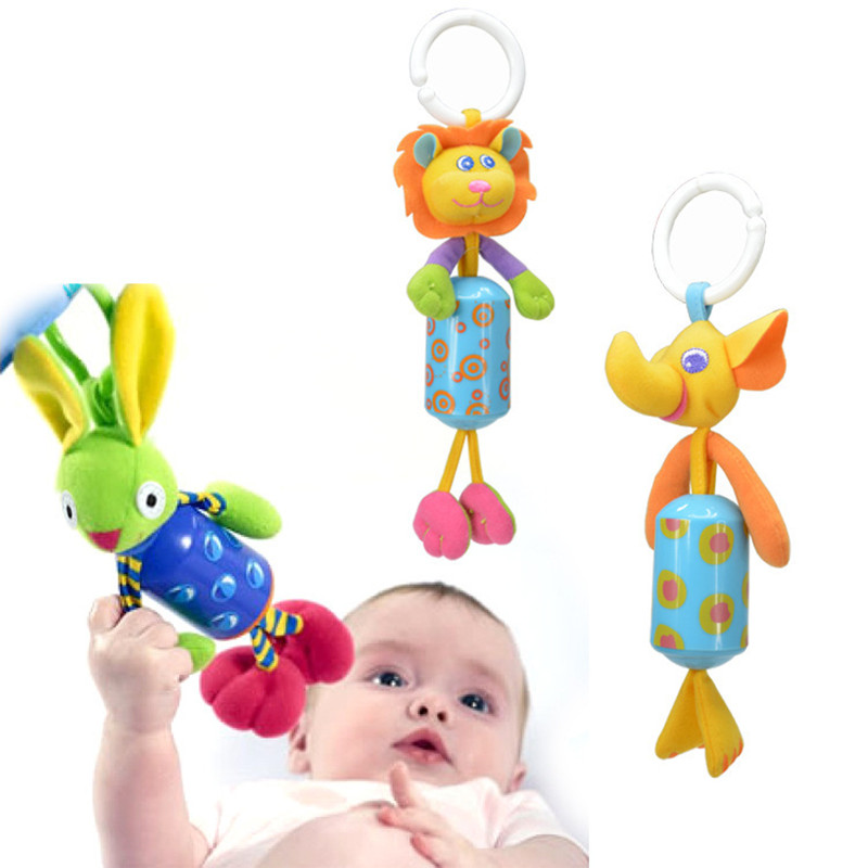 Mini Excellent Baby Rattles Windchimes Hang Bell Plush Cartoon Animal Toys Infant Educational Bed Strollers Hanging Dolls