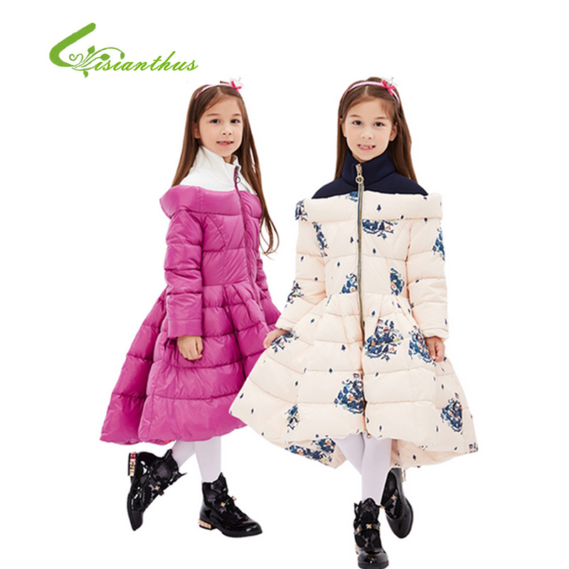 Girl's Long Warm Down Jackets Europe And The United States Style Children Winter Down Jacket Thick Duck Warm Coats2016 New Sale russia winter boys girls down jacket boy girl warm thick duck down