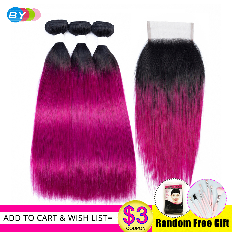 BY OT Rose Red Bundles With Closure Brazilian Ombre Bundles With Closure Straight 100 Human Hair