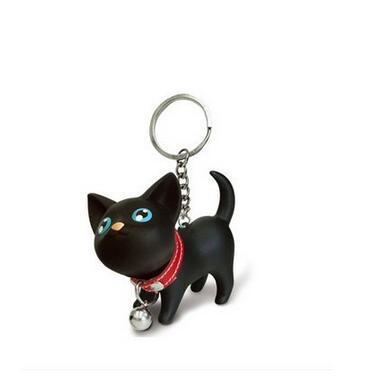 1pcs/lot free shipping cartoon animal keychain unisex silicone lovely cat key ring 5colors woman man fashion keychain