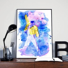 Queen Band Freddies Mercuries Watercolor Canvas Painting Print Bedroom Home Decor Modern Wall Art Oil Poster Framework