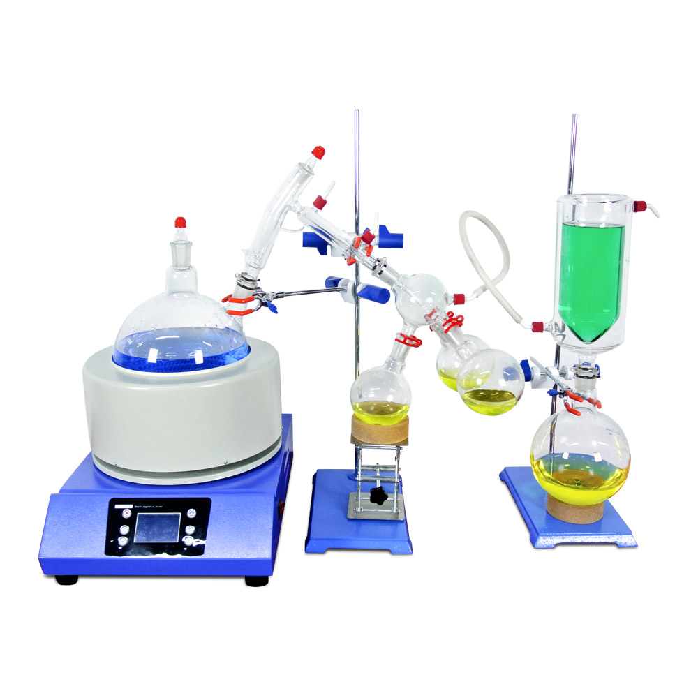 Équipement de Distillation à petite échelle à courte distance de laboratoire Distillation à courte distance 5L avec remuer le manteau chauffant comprend un piège à froid