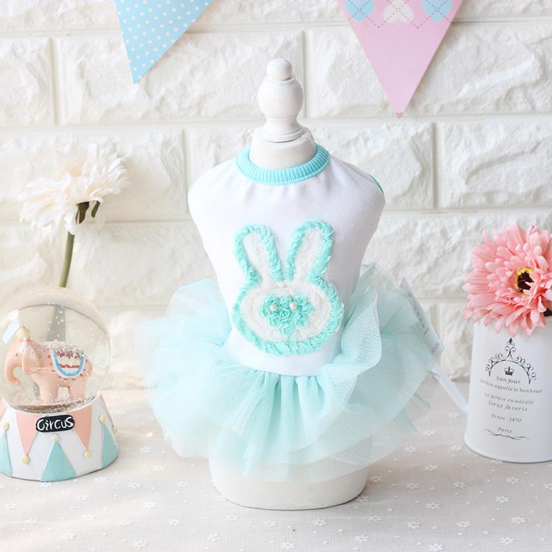 Katoenen prinses partij Konijn blauw meisje Vrouw hond jurk Kleding - Producten voor huisdieren
