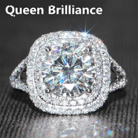 3 Carat Ct F Color Lab Grown Moissanite Egagement Wedding Ring With Real Diamond Accents Solid