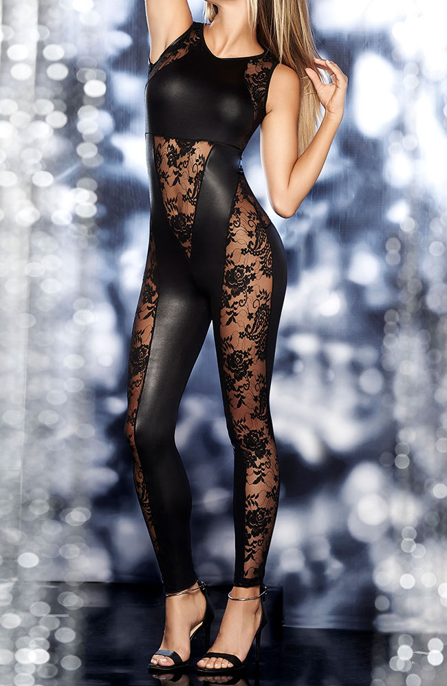 2019 Black Pu Leather Bodystocking Lace Bodysuit Lingerie Outfit Sexy Tights Latex -4377