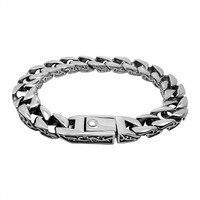 Antique Titanium Stainless Steel Thick Chain Bracelet Men Vintage Vine Slash Edge Link Chain Cool Mens