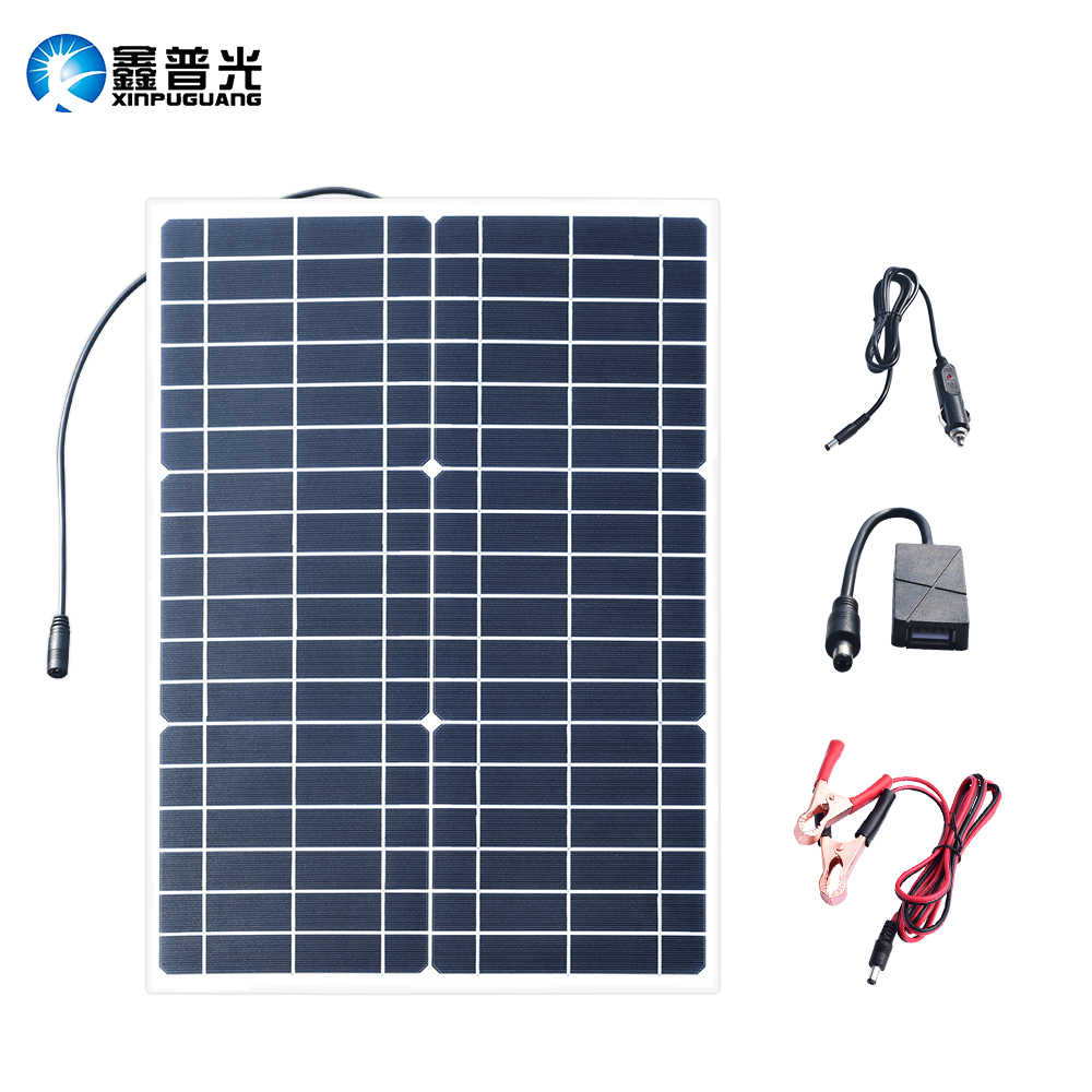 XINPUGUANG 30W 18V Flexible Solar Panel 5V USB 30 Watt Small light solpanel Battery Outdoor connector DC 12v Charger Zonnepaneel