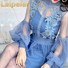 2018 Lace Dress Women Vintage Lantern Sleeves Net Yarn Ladies Dress Harajuku Embroidery Flowers Girl'S Dress Summer Vestidos цены онлайн