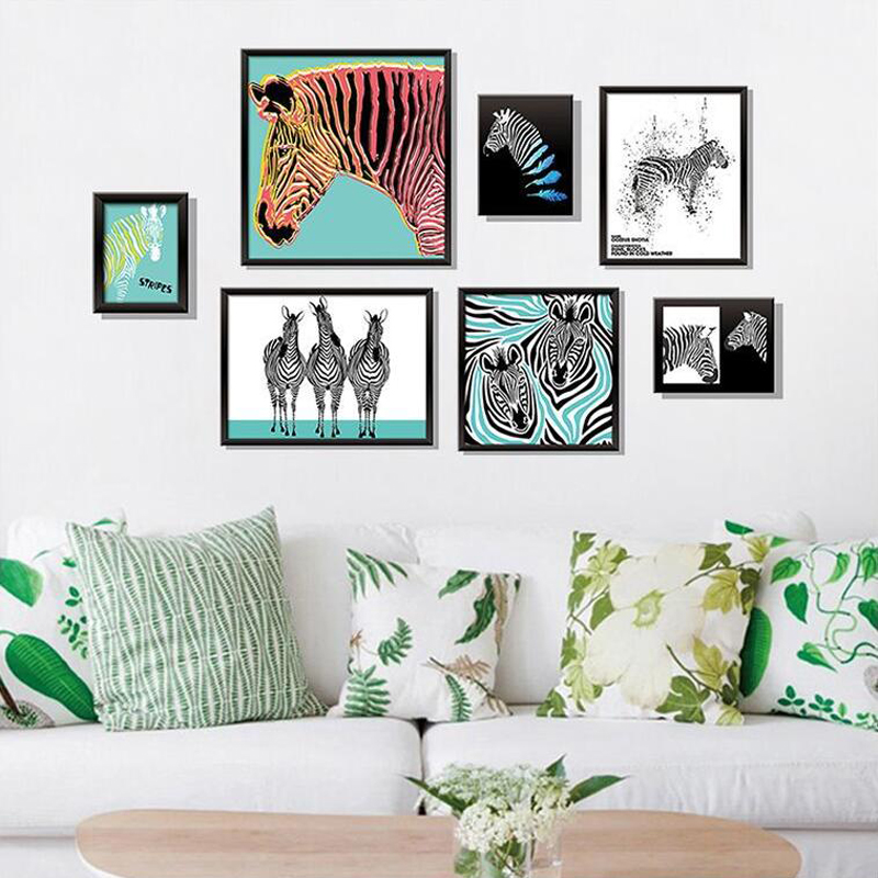 Colorful horse wall sticker home decor removbale cartoon wall pictures for living room 3d office adhesive wall arts
