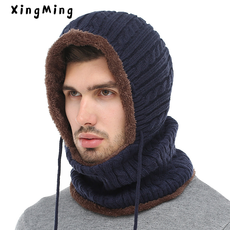 XINGMING Winter Knitted Hat   Beanie   Men Scarf   Skullies     Beanies   Winter Hats For Women Men Caps Gorras Bonnet Mask Brand Hats 2019