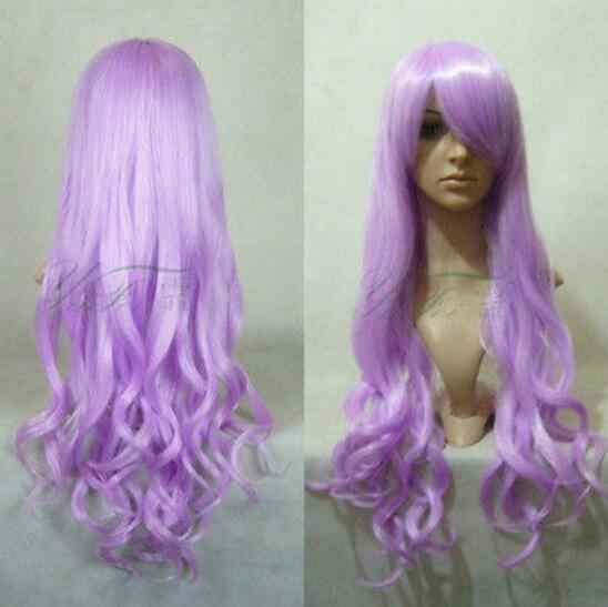 Peluca Cosplay de moda Peluca de pelo largo rosa púrpura Cosplay hermosas pelucas rizadas onduladas envío gratis