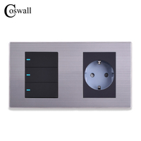 Coswall 16A EU Standard Wall Socket 3 Gang 2 Way Push Button Light Switch With LED