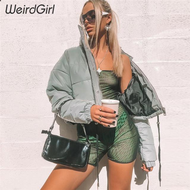 Weirdgirl winter women fashion Reflector Cotton-padded jacket high waist zipper fly pockets female casual thick warm clothing