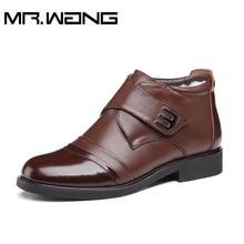 Winter Oxfords Shoes Men snow boots New Brand soft sole Genuine Leather Shoes Men's Flats Warm plush cotton boots Big size DD-50