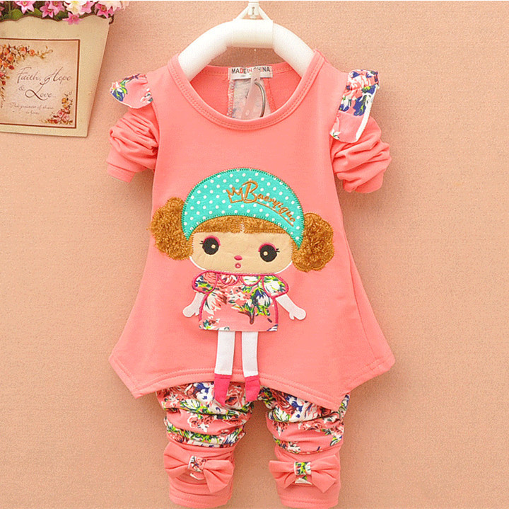 New Autumn casual baby girl/ boy clothes Cute minnie cotton t-shirt coat pants 2 or 3 pcs suits clothes bebes kids clothing sets