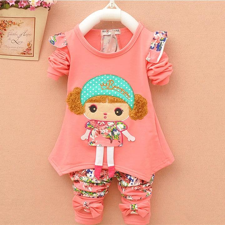 ec885da3b689b Nowa Jesienna casual dziecko dziewczyna/chłopiec ubrania Śliczne minnie  bawełniane t-shirt płaszcz spodnie 2 lub 3 sztuk garnitury odzież bebes  dzieci ...