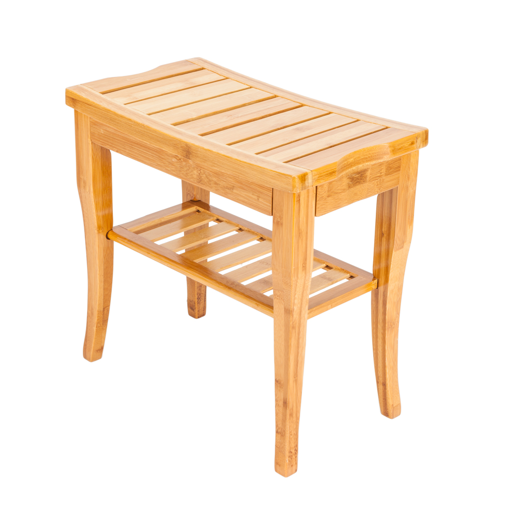 Bamboo Shower Bench Waterproof Shower Chair with Storage Shelf Wood Spa Bath Organizer Seat Stool Perfect for Indoor or Outdoor