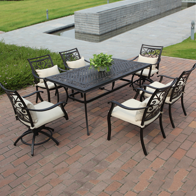 7 Piece Cast Aluminum Table And Chair Outdoor Furniture Garden Set Durable  And Comfortable