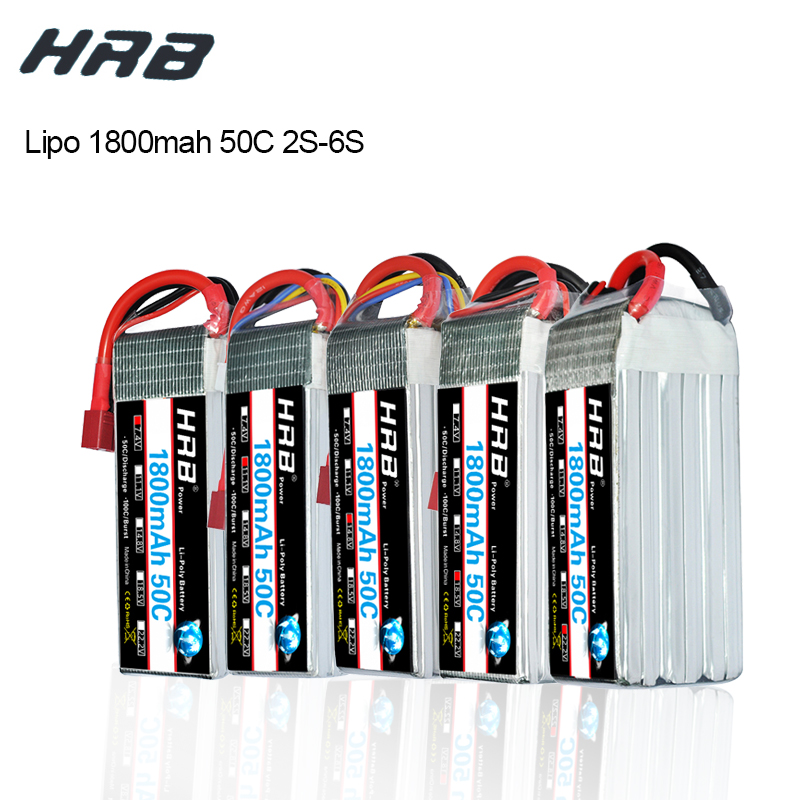HRB Lipo 2S 3S 4S 5S 6S Battery 7.4V 11.1V 14.8V 18.5V 22.2V 1800mAh 50C max 100C Lipo Battery For RC Car Trex 500 Airplane image