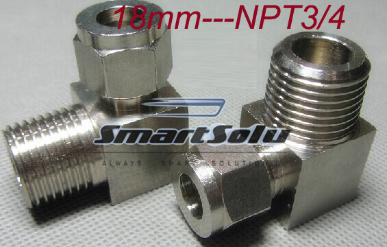 free shipping  1pc/lots for 18mm-NPT 3/4 thread  stainless steel elbow compression fittings stainless steel elbow connectors ro fittings eblow 3 8 npt x 1 4 push in with clamp