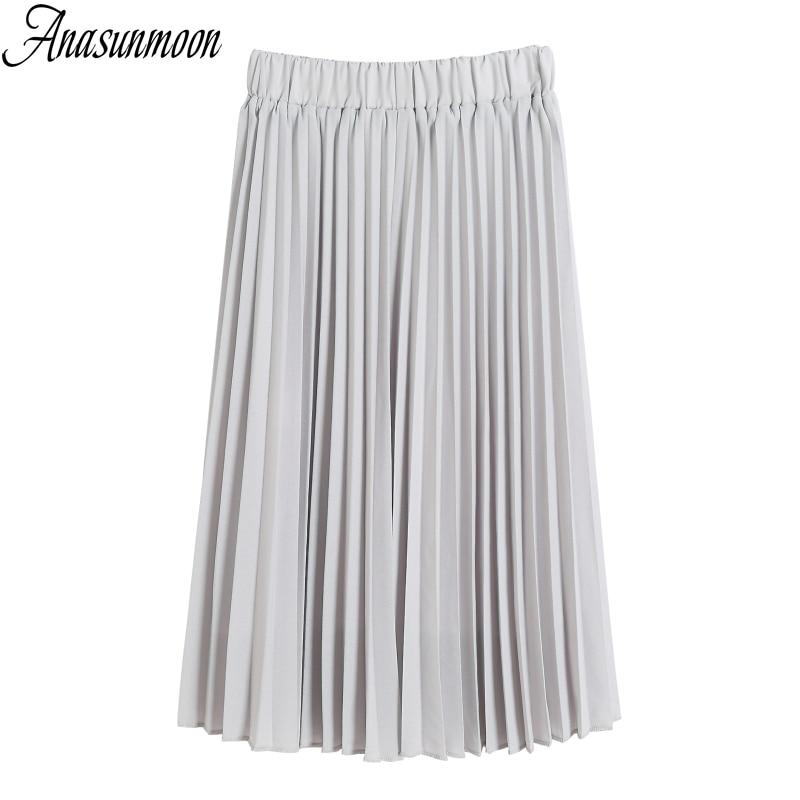Skirts Spring Crinkle Pleated-Department Elastic-Waist Chiffon Women Summer Fold Casual