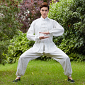 Silver Chinese Men Kung fu Wu Shu Uniform Cotton Tai Chi Suit Mandarin Collar Wushu Clothing Size M To XXXL NS013