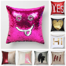 Fuwatacchi Magical Pink Gold Throw PillowCase Mermaid Sequin Cushion Covers Cover Color Changing Reversible Pillowcases 40*40cm