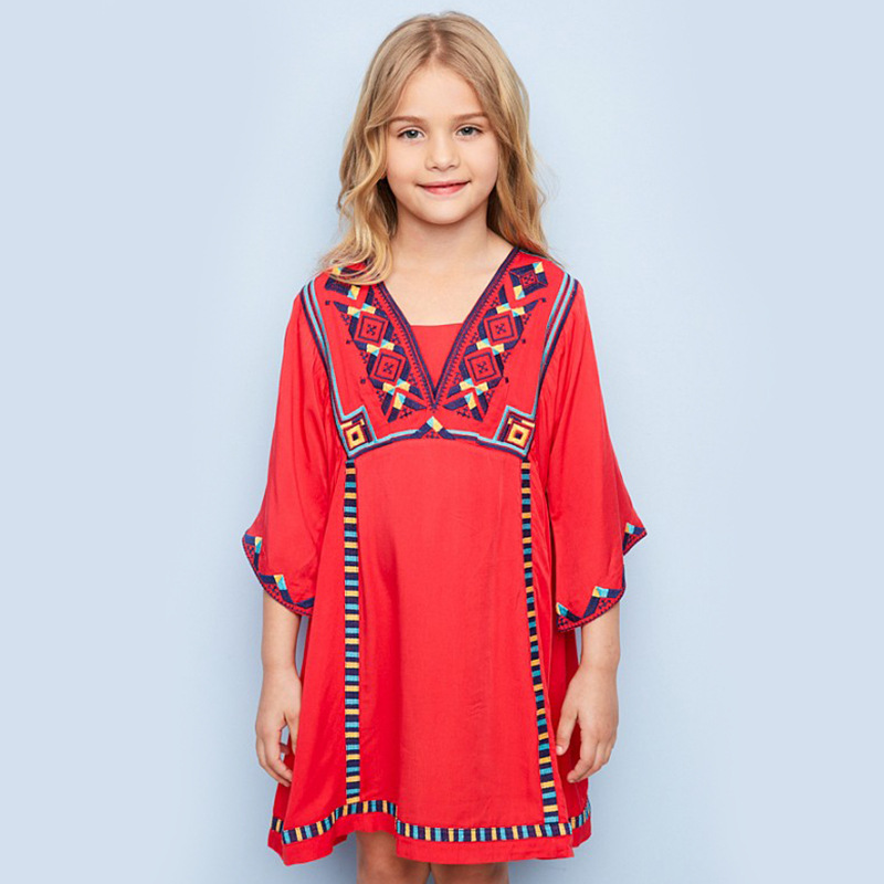 Girls BOHO Dresses Summer Spring Kids Casual Dresses Embroidery Floral Design Children Cotton Clothes Free Shipping autumn winter baby girl rompers striped cute infant jumpsuit ropa long sleeve thicken cotton girl romper hat toddler clothes