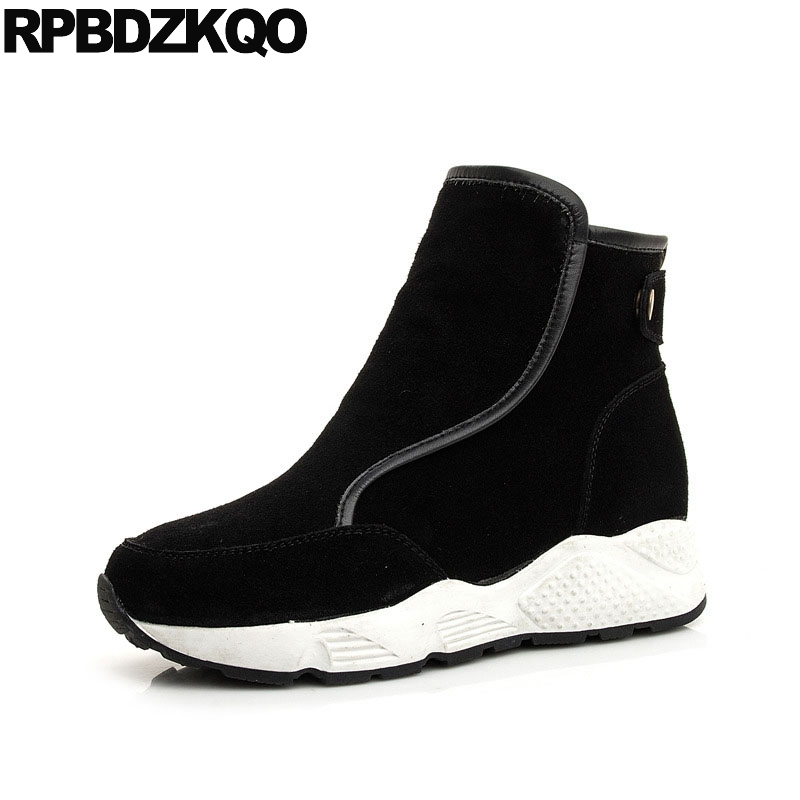 191aab4262e Short Sneakers Casual Booties 2018 Platform Winter Snow Boots Women Ankle  Black Round Toe Suede Flatform Flat Shoes Warm Muffin-in Ankle Boots from  Shoes on ...