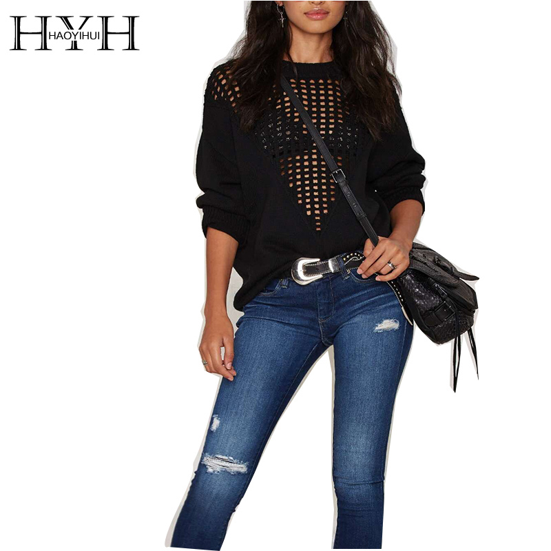 HYH HAOYIHUI 2016 Brand New Autumn or Winter Women Fashion Deep V Sexy Hollow  Loose Batwing Pullover Black XXL XL L S M Sweater