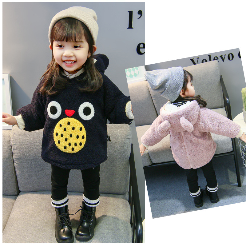 2018 New Children Baby Clothing Boys Girls Cute Owl Furry Tops Coat Autumn Winter Kids Thick Sweaters Plush Long Sleeve Hoodies children autumn and winter warm clothes boys and girls thick cashmere sweaters