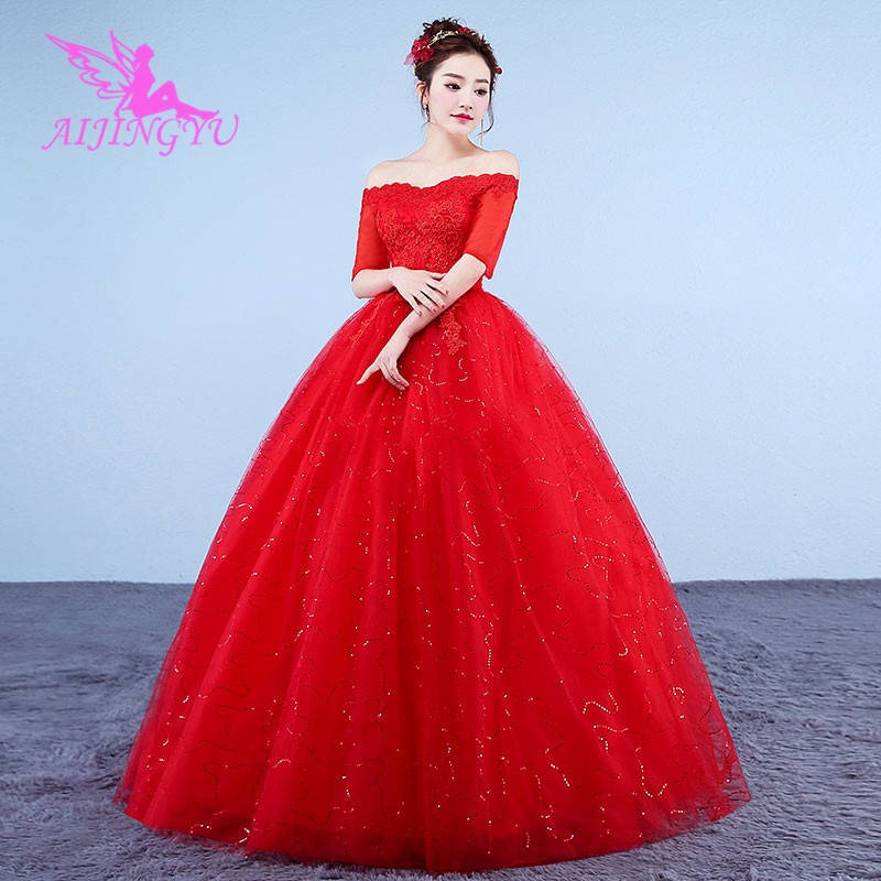 AIJINGYU 2018 communion free shipping new hot selling cheap ball gown lace up back formal bride dresses wedding dress WK414