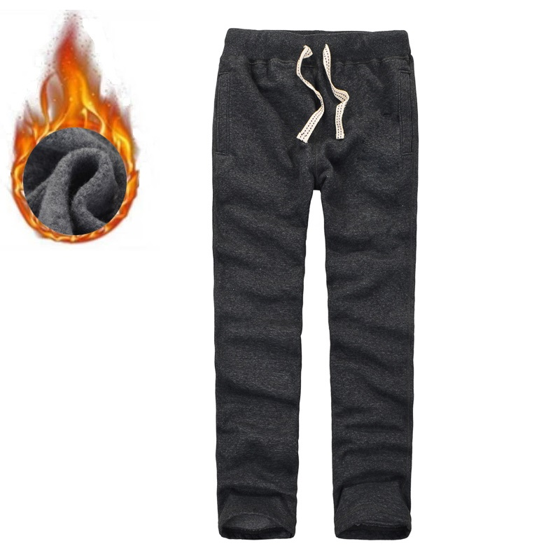 Trousers Men Winter Full Length Sweatpants Solid Color Joggers Fleece Thick Fitness Pants Size S To 3XL