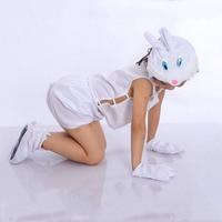2018 Boy Kız Hayvan Beyaz Tavşan Bunny Cosplay Kostüm Şapkalar Gömlek Kısa Eldiven Çorap Yortusu Fantezi Elbise Kostüm Purim