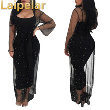 Women Two Piece Dress Sexy Elegant Sheer Mesh Long Sleeve Maxi Casual Beading Party Black Bodycon Female Vestidos