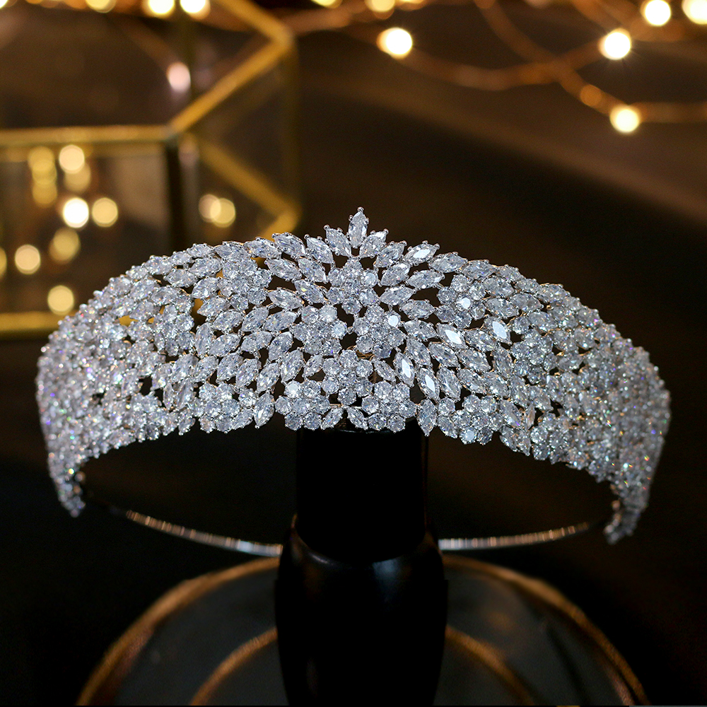 Luxury big crown fashion water droplet zirconia cube bride silver cz zircon heart stone wedding Accessories Hair Jewelry