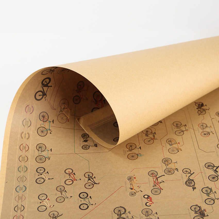 Галстук Лер Ностальгический Винтаж Kraft бумага Велосипедный спорт Daquan плакат баров кафе стены стикеры домашний декор декоративная живопись 51,5x36 см
