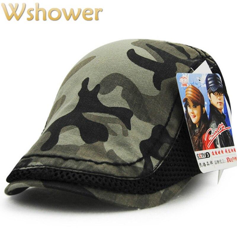 Jamont  moda primavera verão camuflagem boina cap viseiras chapéu de sol  osso gorras planas balançar plana camo malha boinas jornaleiro gorras em  Boinas de ... b24550d8461