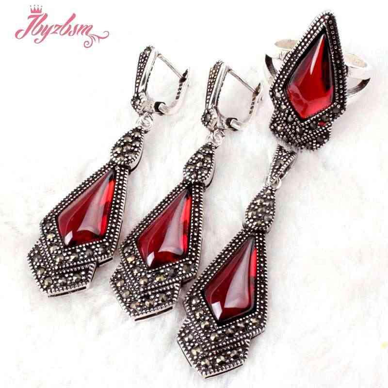 9x11mm Rot CZ Kristall Markasit Tibetischen Silber Mode Für Party Anhänger 15x46mm/Ohrringe 15x50mm/Ring #6-#8 Freies Verschiffen