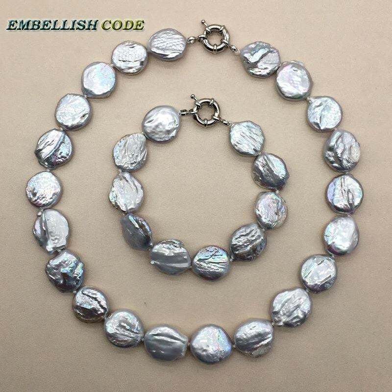 Baroque perle choker déclaration collier bracelet ensemble de bijoux couleur grise ronde bouton de pièce plate forme naturelle perles d'eau douce