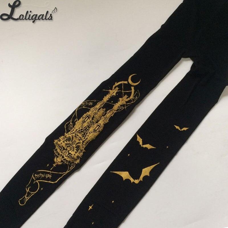 e94628956 Igreja de Lua Sussurro Yidhra Gothic Lolita Meia-calça Bat Impresso Calças  Justas das Mulheres