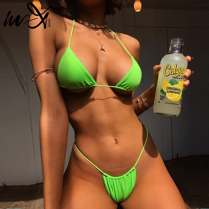 In-X Sexy Micro Bikini Set Neon Swimsuit Women Bathers String Push Up Swimwear Women 2019 Triangle Bathing Suit Swimming Suit