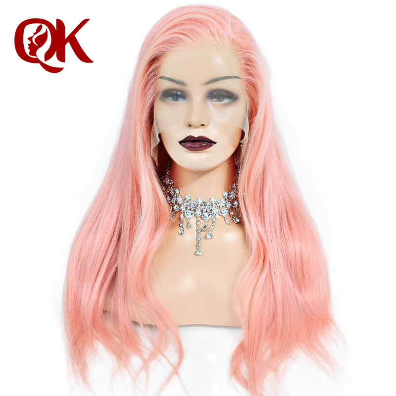 QueenKing hair Full Lace Wig Pink 100 Brazilian Human Hair Silky Straight Preplucked Hairline Remy Hair