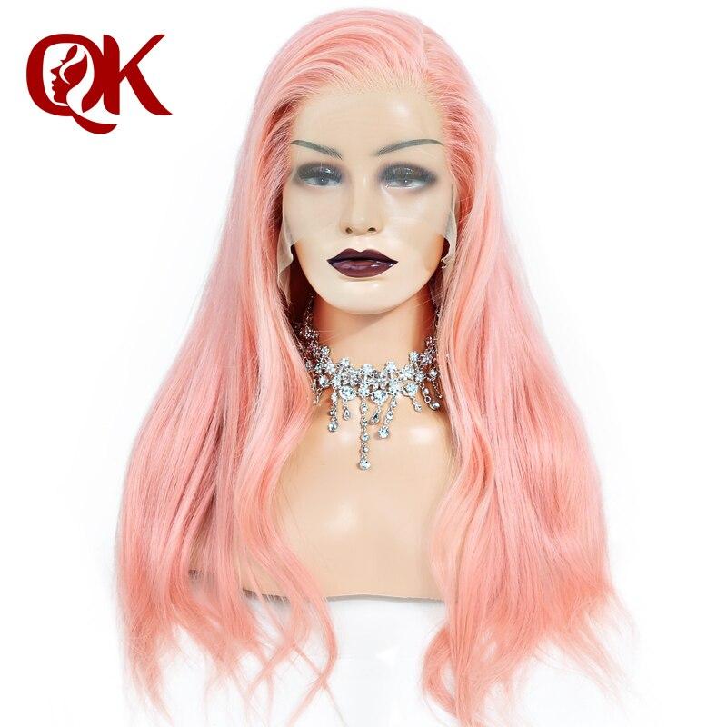 QueenKing волосы парик розовый 100% бразильские человеческие волосы шелковистые прямые предварительно выщипать волосяного покрова Волосы remy пар
