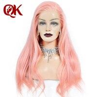 QueenKing волос полный парик шнурка розовый 100% бразильский натуральные волосы шелковистые прямые предварительно выщипанные волосы remy Искусств