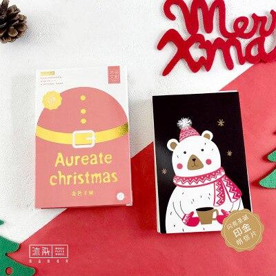 30sheets/LOT Aureate Christmas Postcard /Greeting Card/wish Card/Kids Chrismas Gift 30sheets lot happy new year fireworks postcard greeting card wish card kids chrismas gift