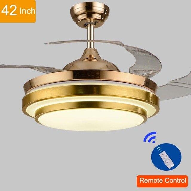 42 inch ceiling fan with light bedroom 110v220v 42inch living room modern gold fan ceiling lights fixtures acrylic leaf led