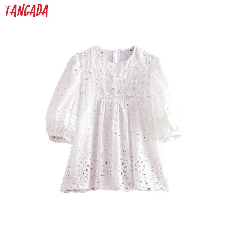 Blouses & Shirts Motivated Tangada Women Cotton Embroidery White Blouse O Neck Fashion 2019 Lantern Sleeve Boho Style Shirt Ladies Casual Tops Be521